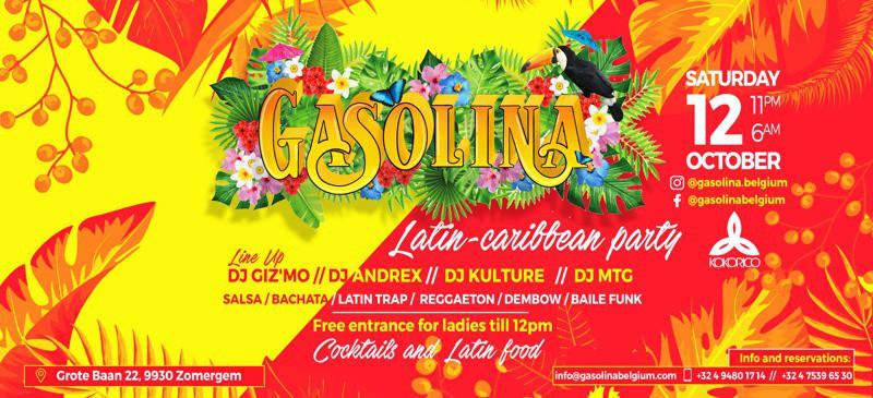 Flyer Gasolina Latin - Caribbean party