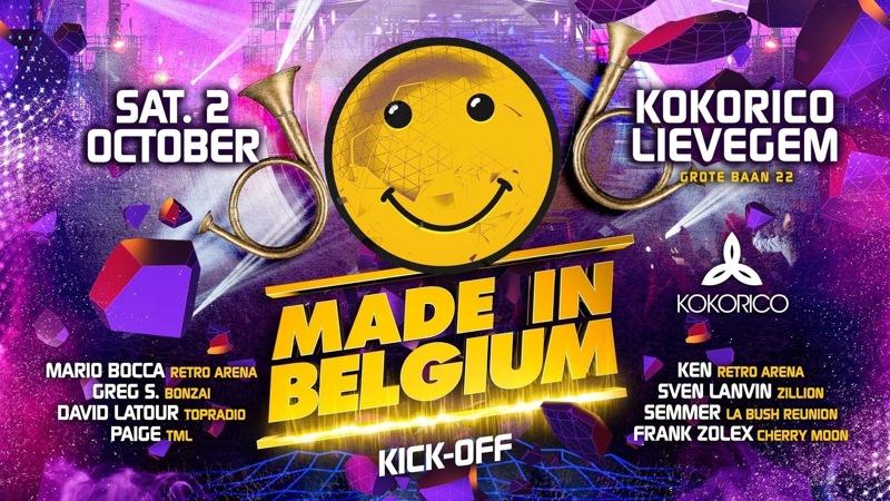 Flyer Made In Belgium Kick Off I 100% Retro House