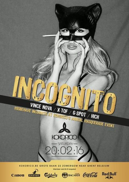 Flyer Incognito - Kokorico's annual masquerade event